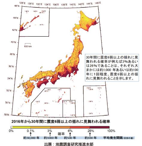 確率論的地震動予測地図(確率の分布)