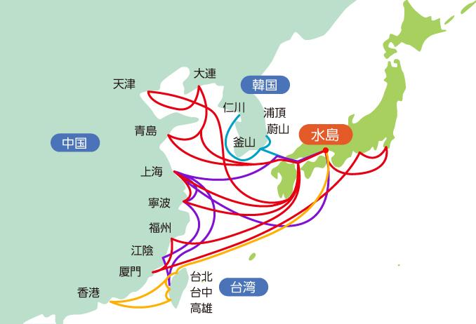 岡山からアジアへのコンテナ便